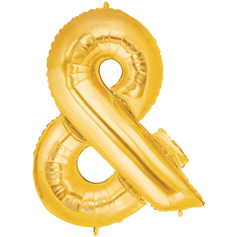 Megaloon Ampersand Gold Foil Balloon
